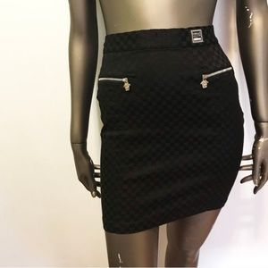 NWT Vintage 90s Versace Checkered Bodycon Skirt